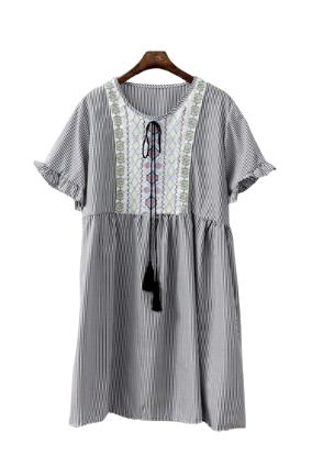 Ethnic comfortable dress stripes