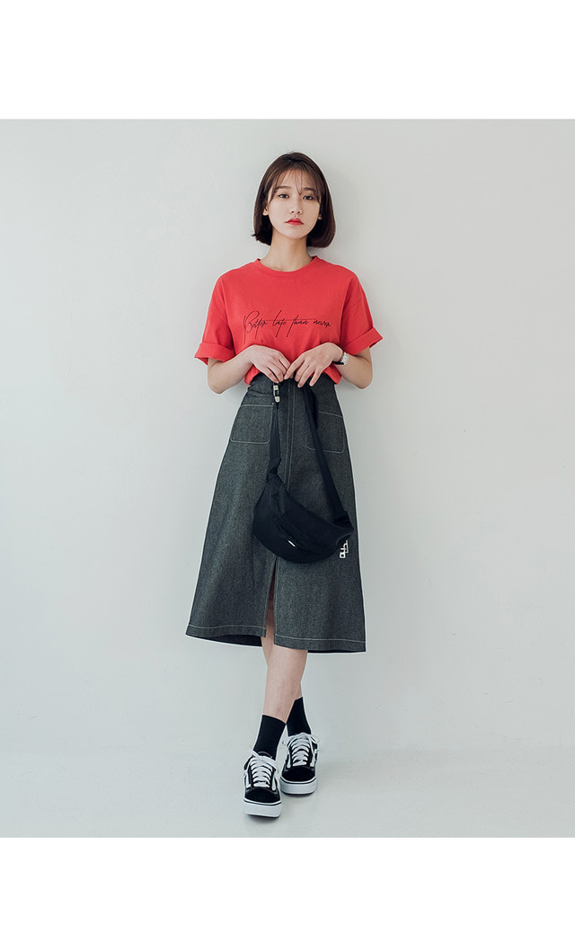 Nover Short Sleeve T-shirt 4 COLOR White, Black, Gray, Red, Guest, Citizen, Feminine, Spring Autumn, Summer Daily Items)