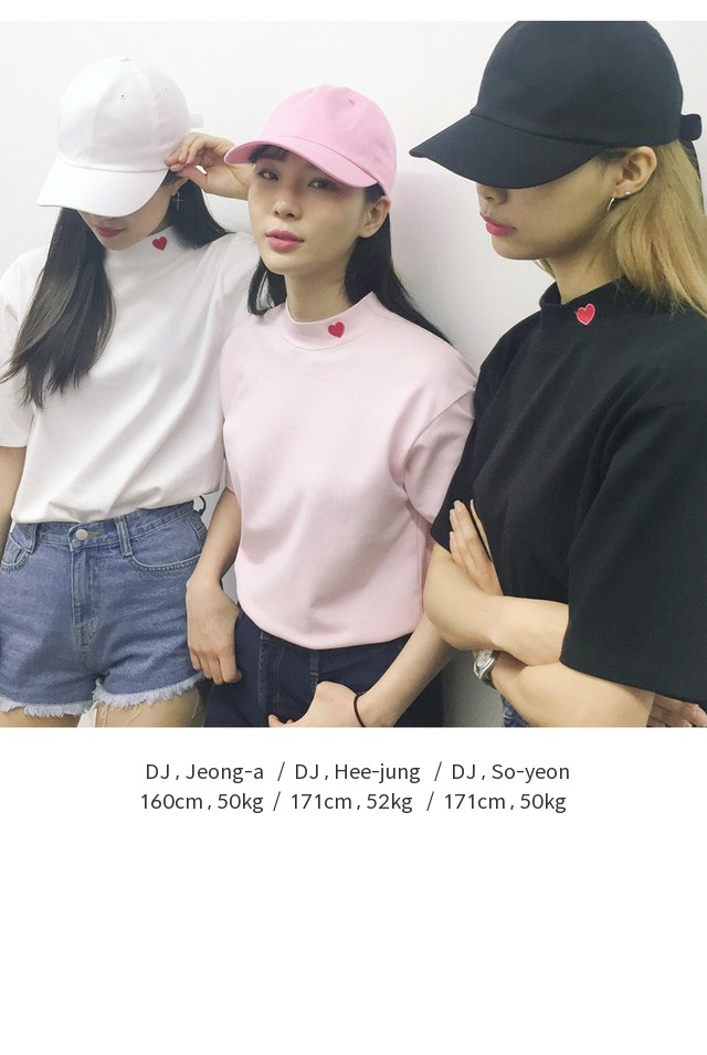 Heart club 16SSHeart High Neck Top(White)