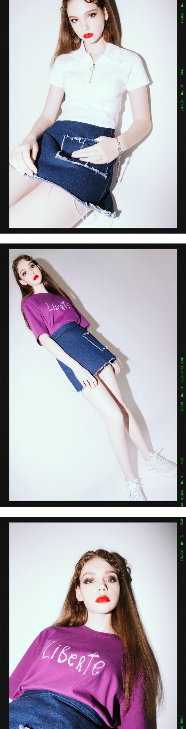 HIDE AND SEEK 16 SS B Pocket Denim Skirt(Light blue)