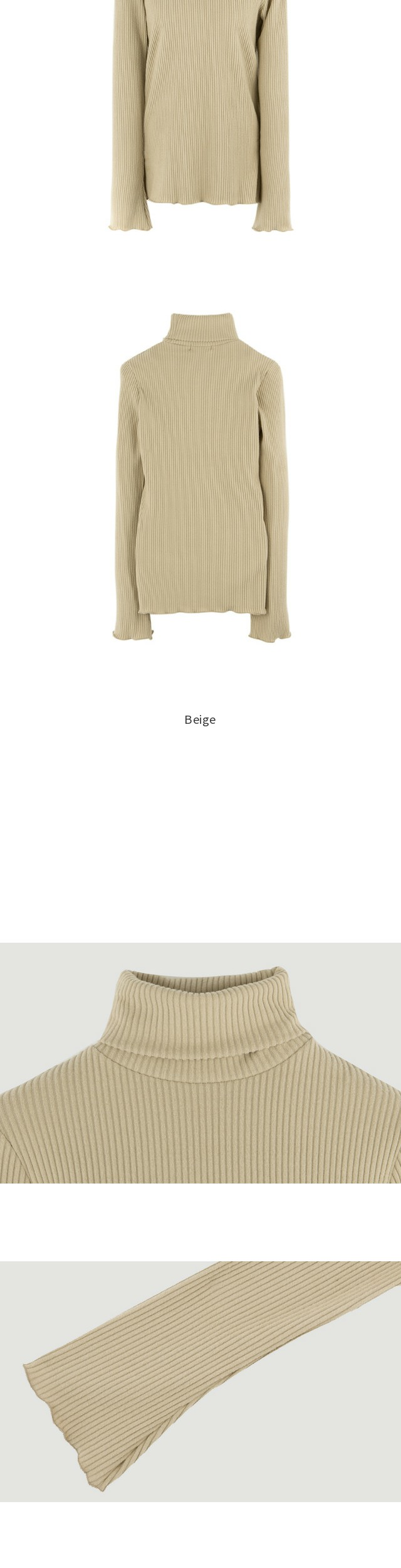 Cut brushed knit high neck