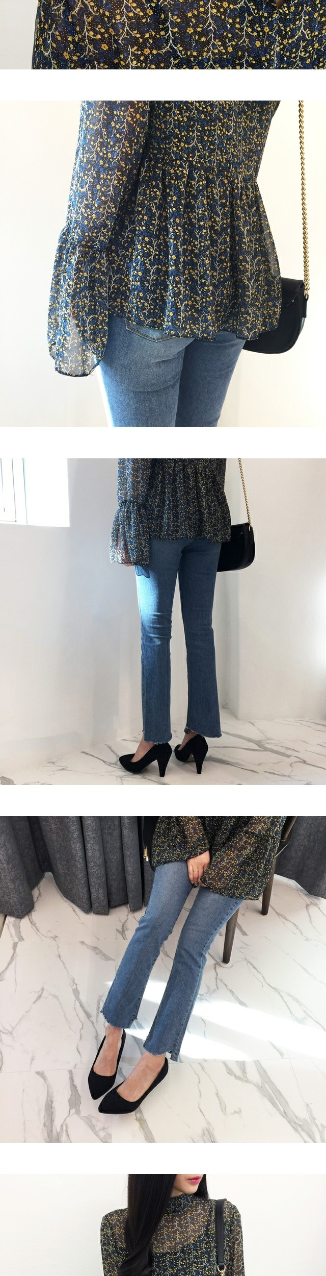 Line frill blouse