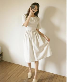Shearing Belted A-line Dress