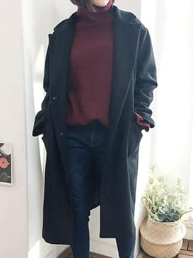 Foggy single long wool coat