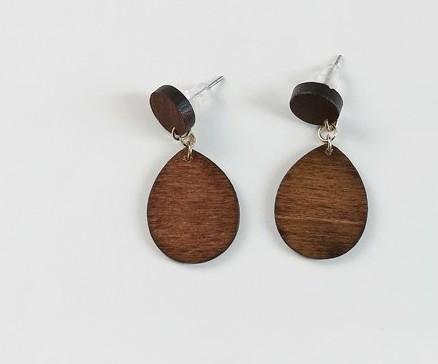 Water drop wood earrings
