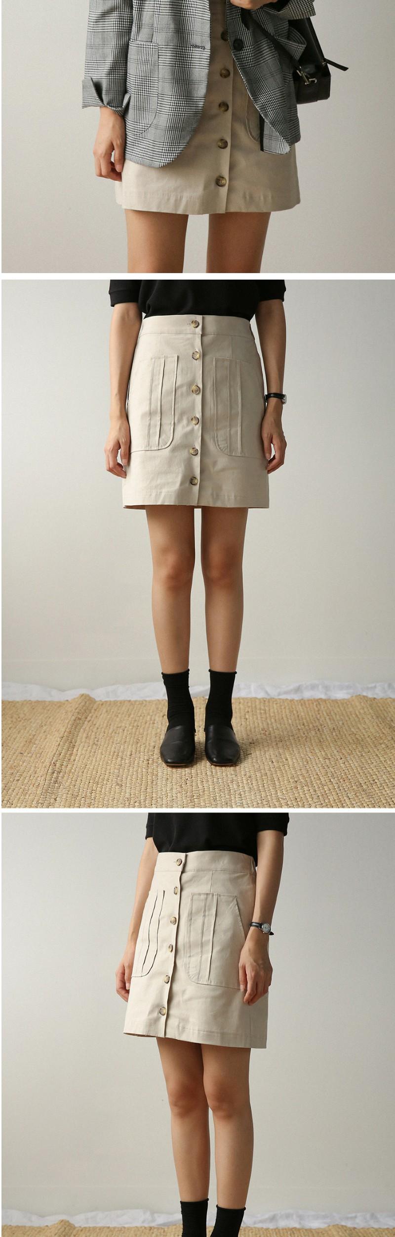 opening button banding skirt