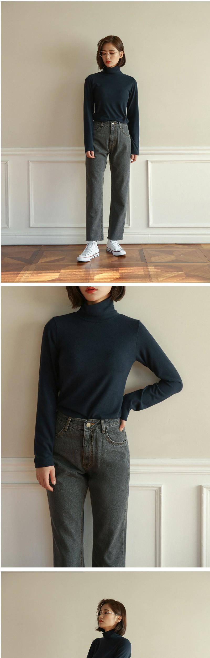 high grey napping denim pants