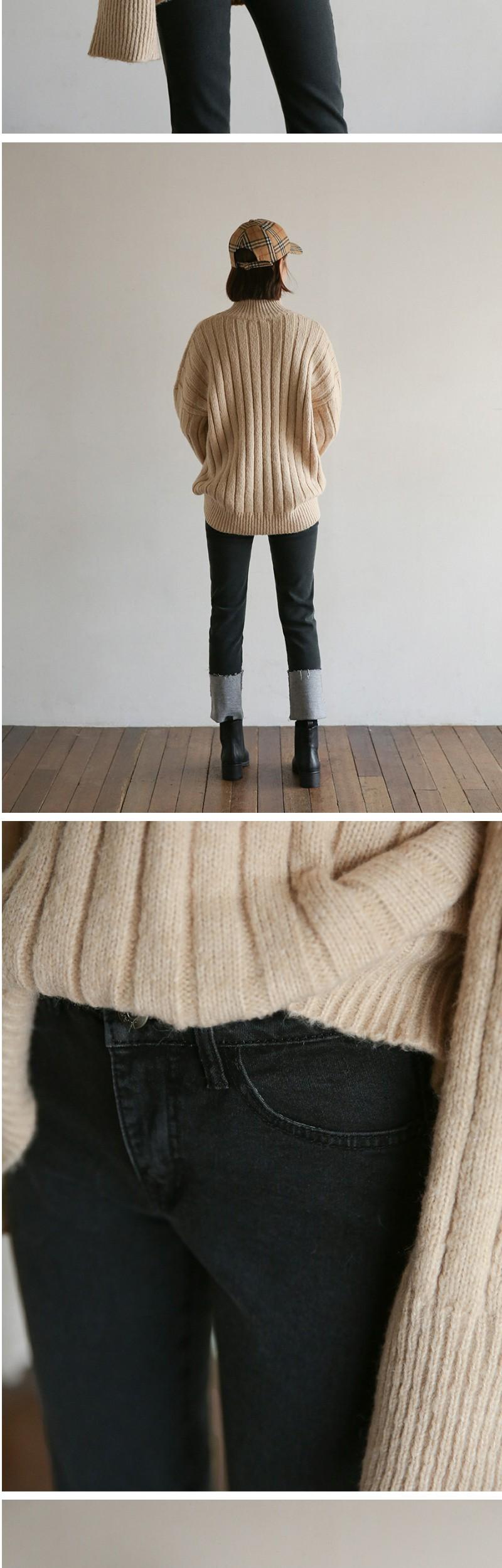 napping slim roll-up denim pants