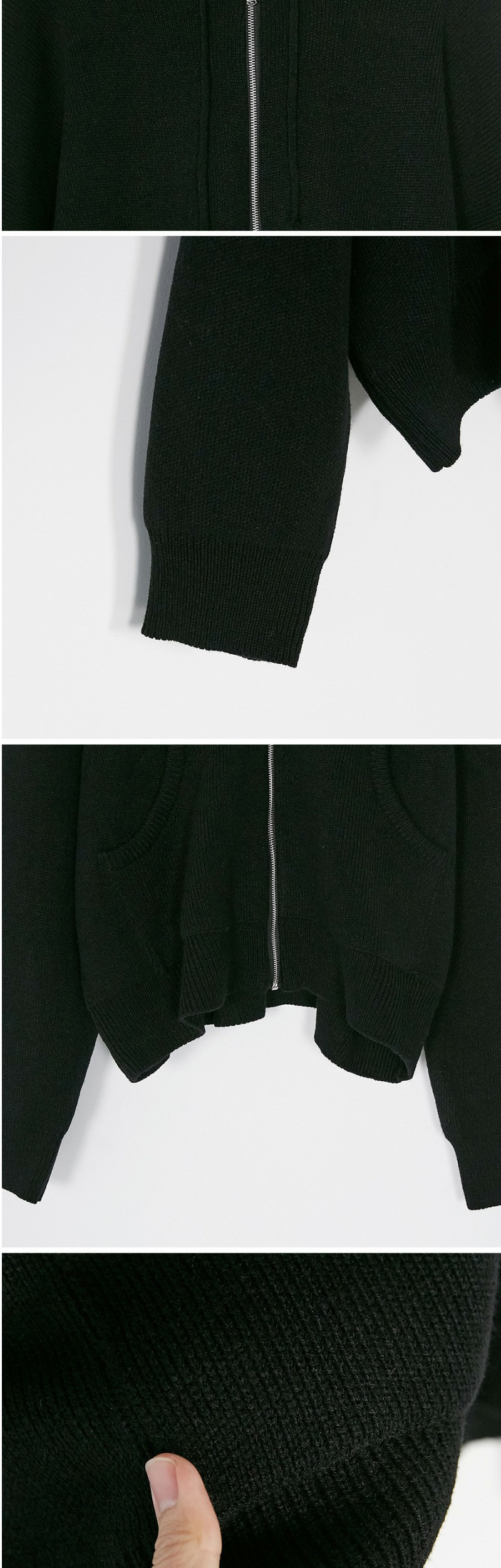 over fit knit hood zip-up