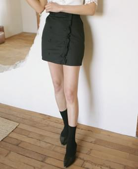 Frilled trench bending skirt