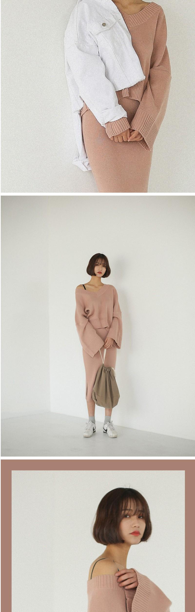 feminine knit & skirt set