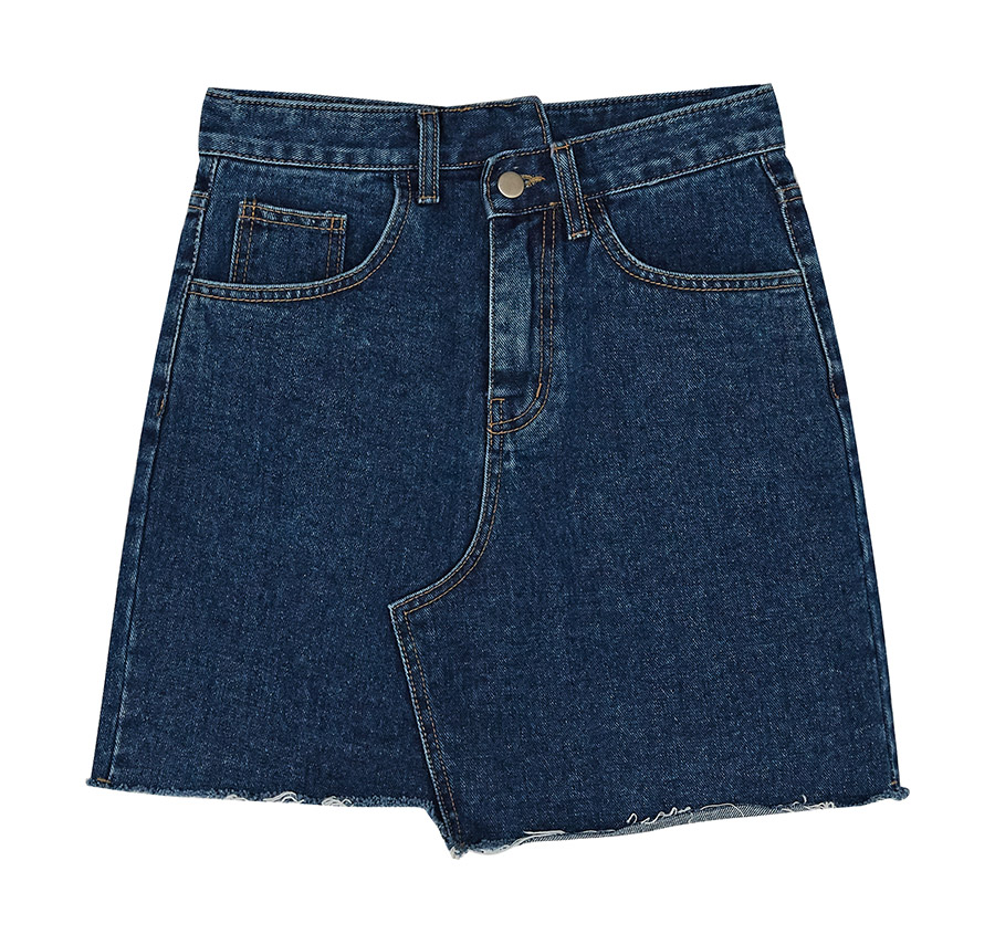 unique unbalance denim skirt