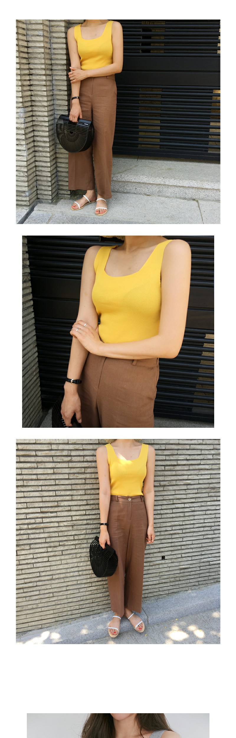 Dive knit sleeveless top_S (size : free)
