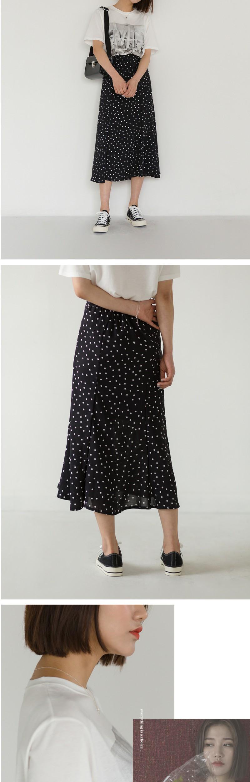 dot banding long skirt