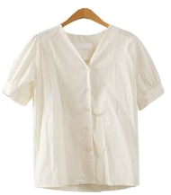Linen cotton puff blouse