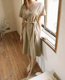 V-neck string linen dress