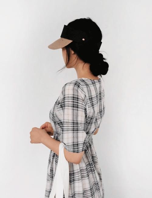 Mel Check Banding Long Dress