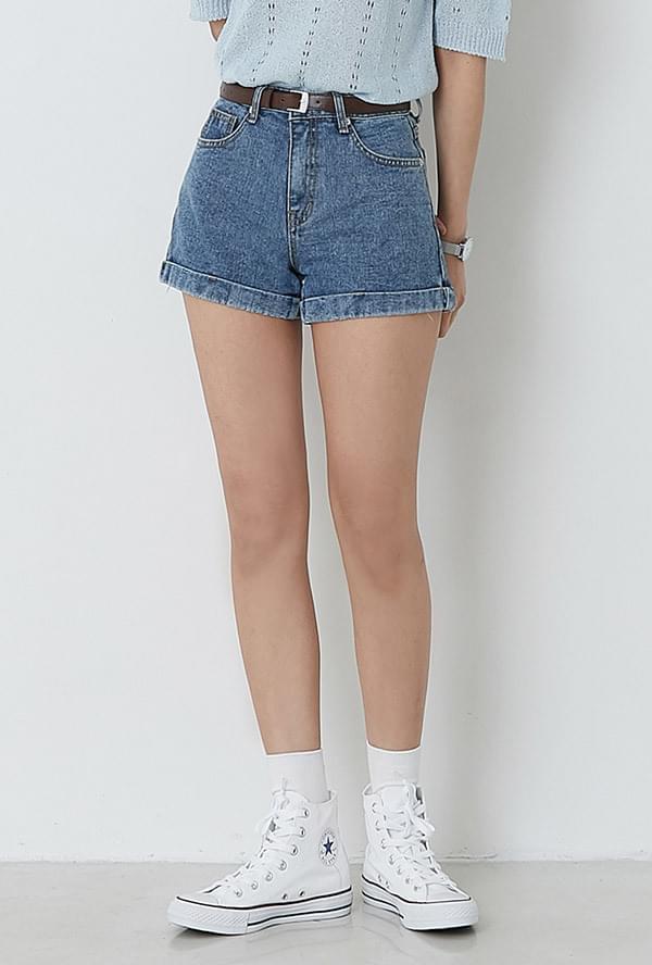 Ray-roll-up denim shorts