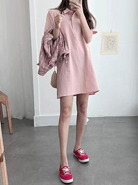 Mono Shirt Dress ㅣ 3COLOR Beige Yellow Pink Black Crop Customers
