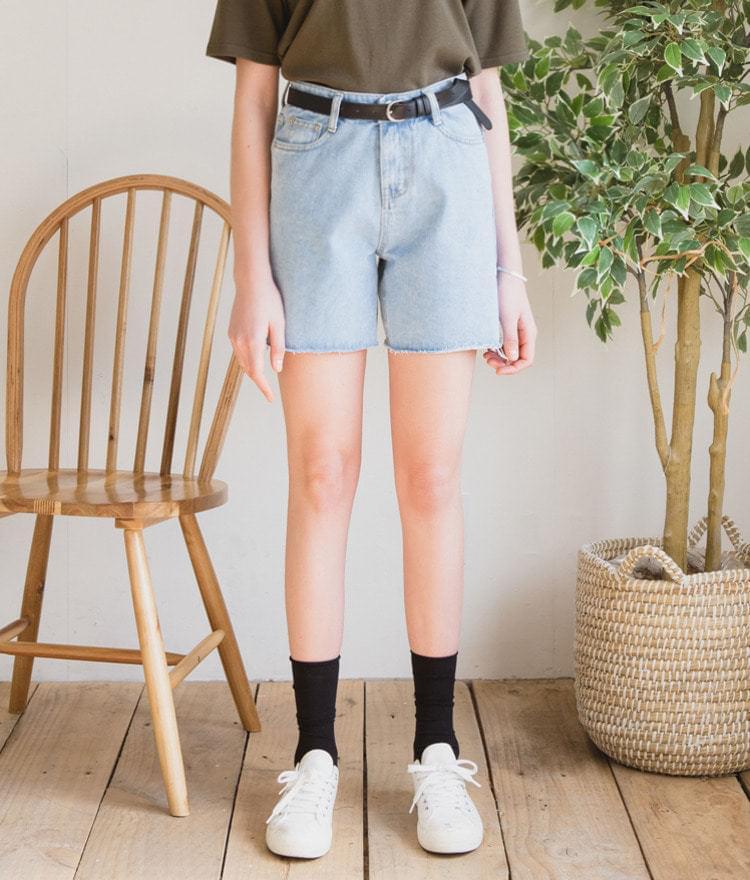 Mid Short Simple Denim Pants