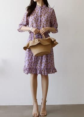Floral ruffle shirt dress