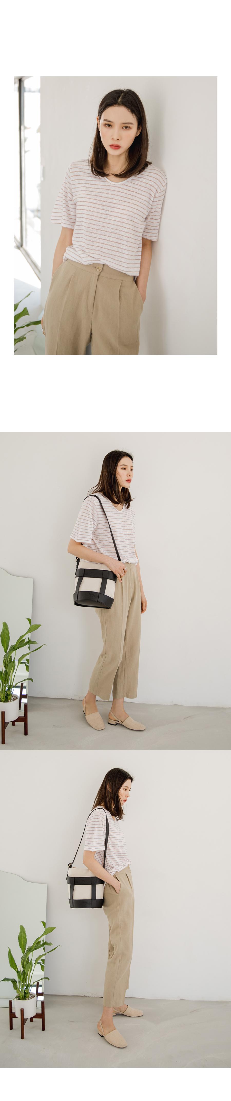 Striped linen short sleeve tee