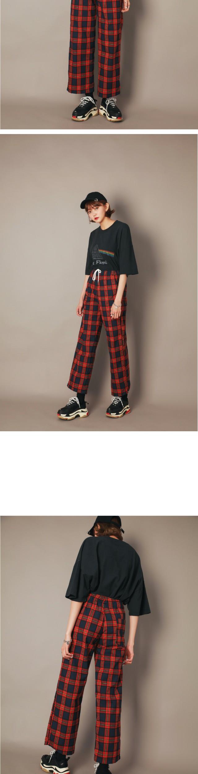 Neon Check wide pants