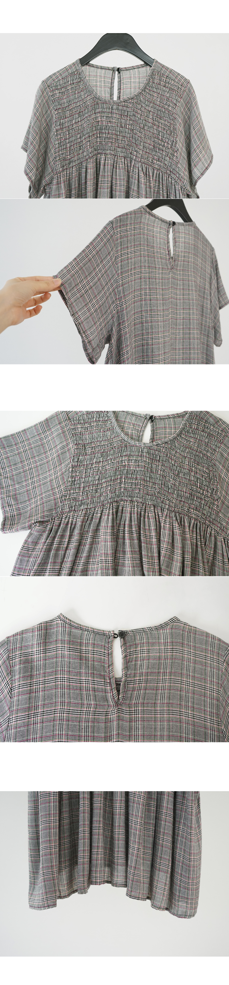 check smocking flare blouse (2colors)