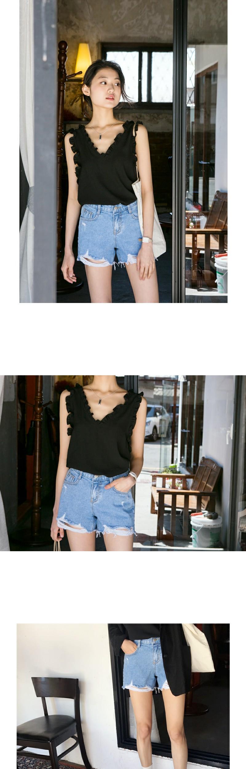 Wonder damage denim shorts_S (size : S,M,L)