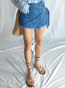 Lap skirt denim shorts