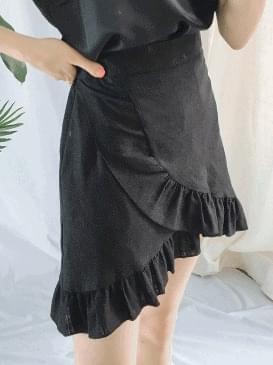 Frill Kiko linen skirt