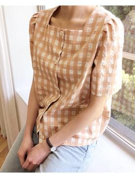 Embo check square blouse_K (size : free)