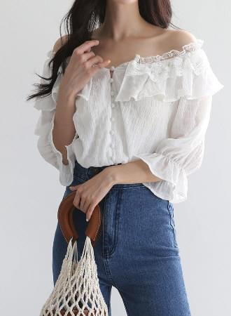 ♡ Same day shipping ♡ Lojia off shoulder lace short sleeve blouse