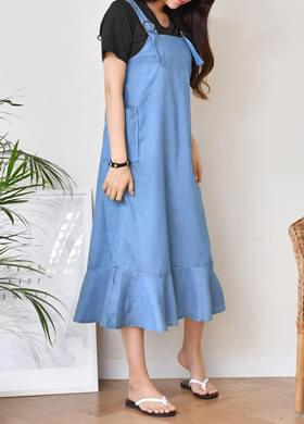 Denim long-sleeved dress