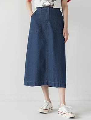 big pocket denim banding skirt