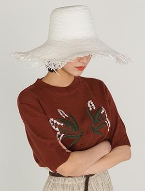 flowers embroidery summer half knit