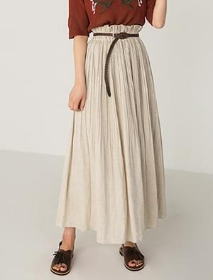 pure pleats banding long skirt