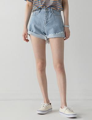 fringe light blue shorts