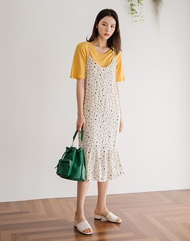 Pleated dot dress