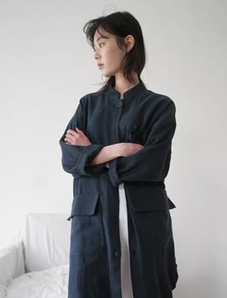 stand collar linen long jacket (2colors)