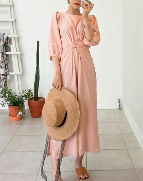 Puff linen dress