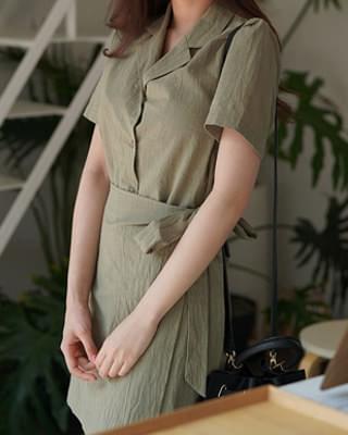 Linen short sleeve dress - 3color