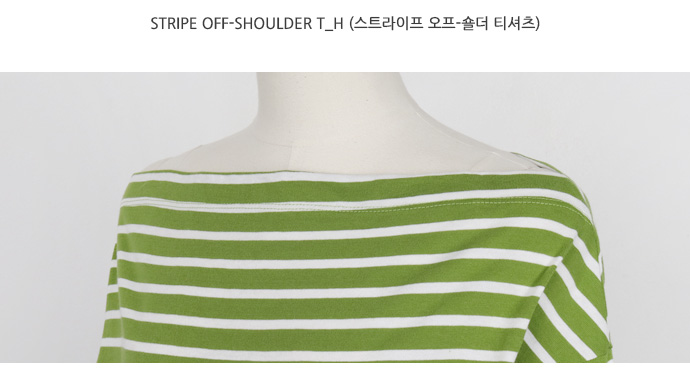 Stripe off-shoulder T_H (size : free)