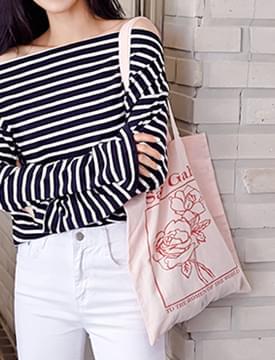 Rose frame cotton bag_H (size : one)
