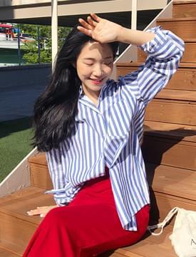 Pure stripe cotton shirts_M (size : free)