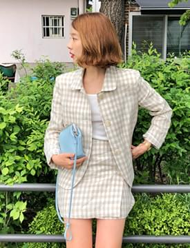 Maple check button skirt_B (size : S,M)