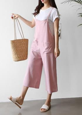 Linen jump suit suspenders pants