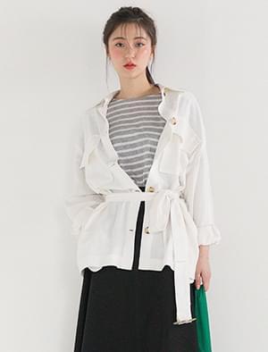 simple linen belt jacket