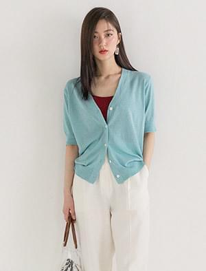 linen v-neck short sleeve cardigan
