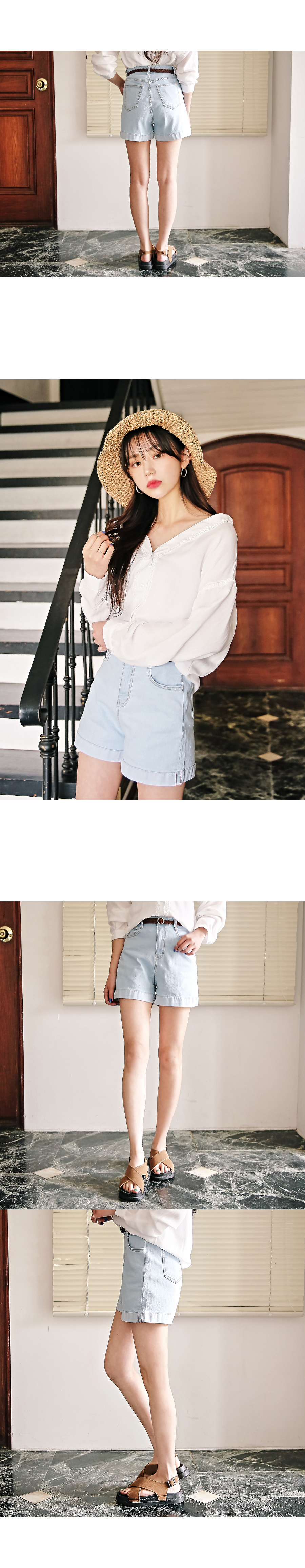 Roll-up denim shorts
